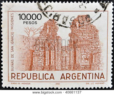 ARGENTINA - CIRCA 1982: A stamp printed in the Argentina shows Ruins of the San Ignasio, Misiones, c