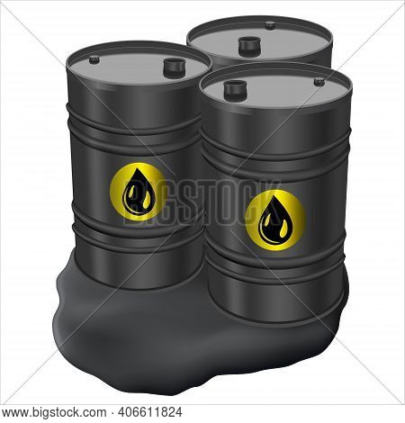 Three Barrels Of Black Metal And Spilled Oil. Barrel With Spilled Oil Isolated On White Background.