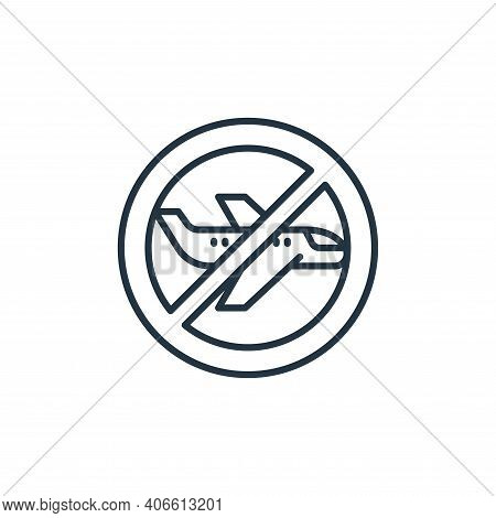 no flight icon isolated on white background from coronavirus disease collection. no flight icon thin
