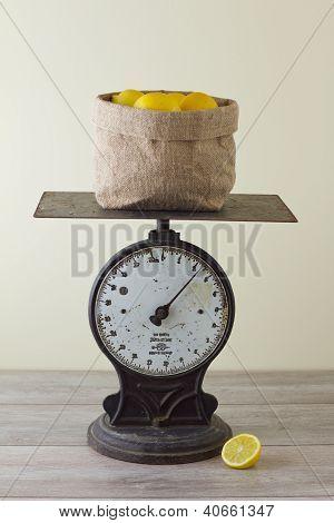 Sack Of Lemons On Scale