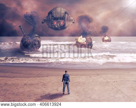 Attack Of Combat Robots In Futuristic Battle At War. Science Fiction Concept And Cyberpunk. 3d Rende