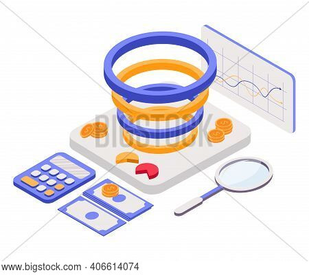 Landing Page Template With People In Front Of Screen With Indicators, Coins, Magnet, Magnifier. Conc