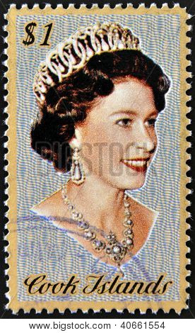 COOK ISLANDS - CIRCA 1974 : Stamp printed in Cook Islands shows Portrait of Queen Elizabeth II