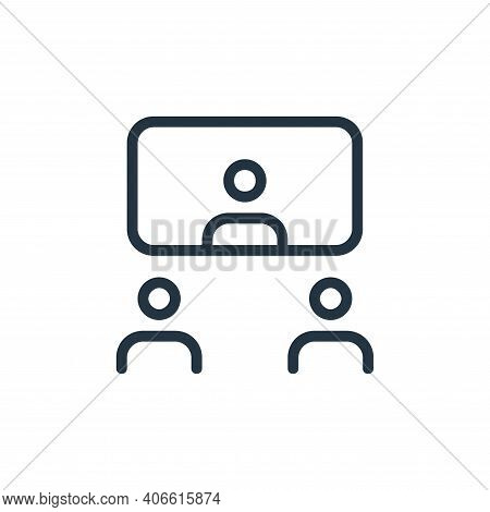 meeting icon isolated on white background from work office and meeting collection. meeting icon thin