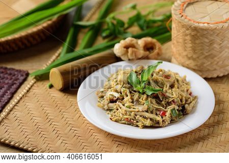 Northern Thai Food (yum Nor Mai), Spicy Bamboo Shoot Salad With Crab Paste Eating With Pork Rind, Gi
