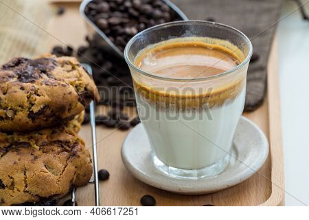 Coffee With Condensed Milk. Coffee With Condensed Milk In A Transparent Glass. Vietnamese Coffee Wit