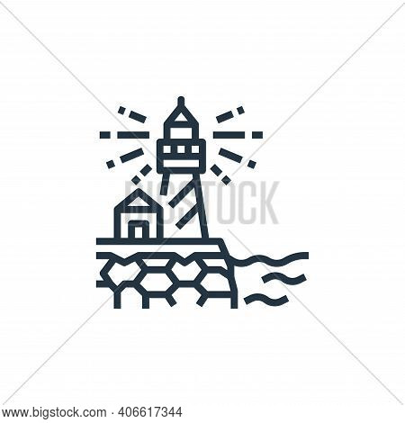 lighthouse icon isolated on white background from travel collection. lighthouse icon thin line outli