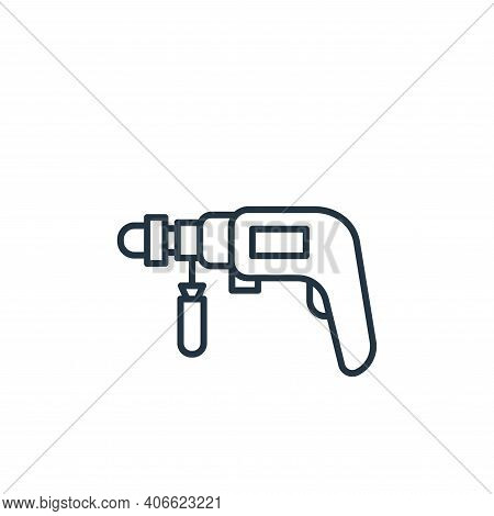 drill icon isolated on white background from carpentry collection. drill icon thin line outline line