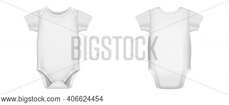 White Baby Bodysuit, Infant Romper With Short Sleeves Front And Back View. Vector Realistic Mockup O