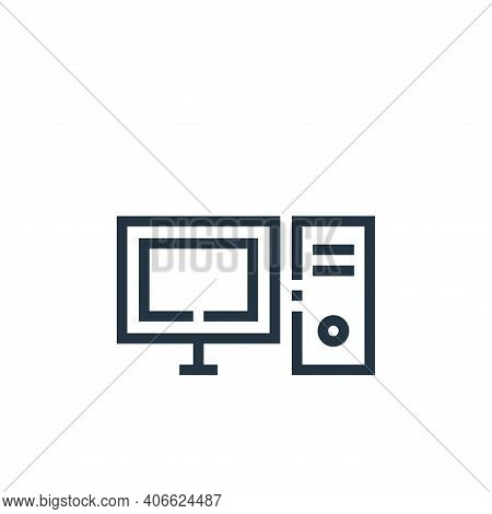 desktop computer icon isolated on white background from web essentials collection. desktop computer