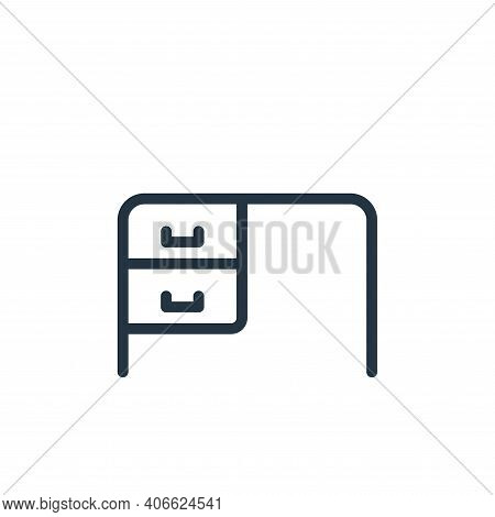 desk icon isolated on white background from work office supply collection. desk icon thin line outli
