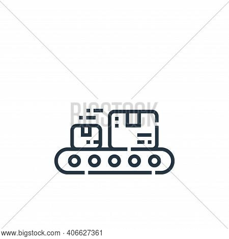 conveyor icon isolated on white background from delivery collection. conveyor icon thin line outline