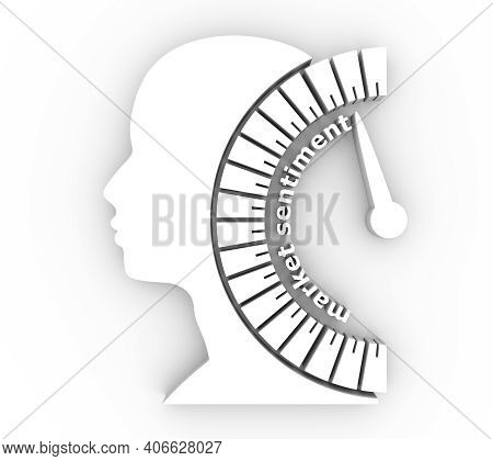 Market Sentiment Level Scale With Arrow. The Measuring Device. Head Of Man Silhouette. 3d Rendering