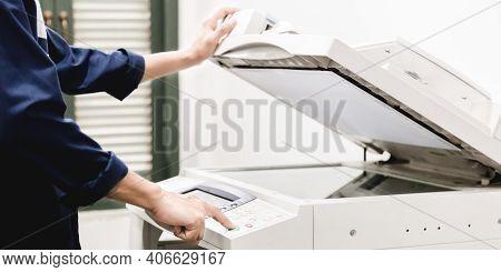 Business People Keypad Hand On The Panel Printer, Printer, Scanner, Laser Copier, Office Equipment,
