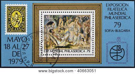 CUBA - CIRCA 1979: A stamp printed in Cuba shows paint by Jules Pascin circa 1979