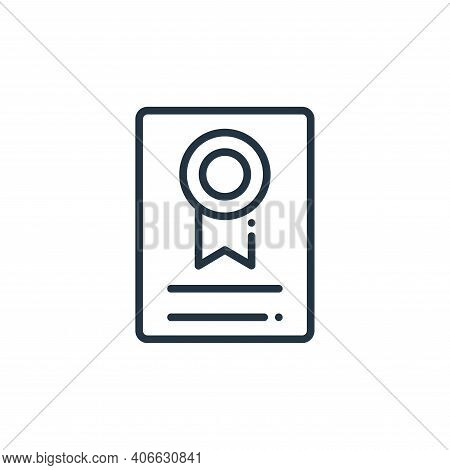certificate icon isolated on white background from online learning collection. certificate icon thin