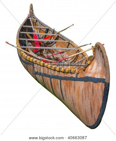 Indigenous Birch Bark Canoe From Great Lakes Isolated On White
