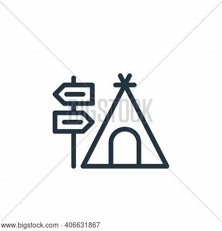 camping icon isolated on white background from hobbies collection. camping icon thin line outline li