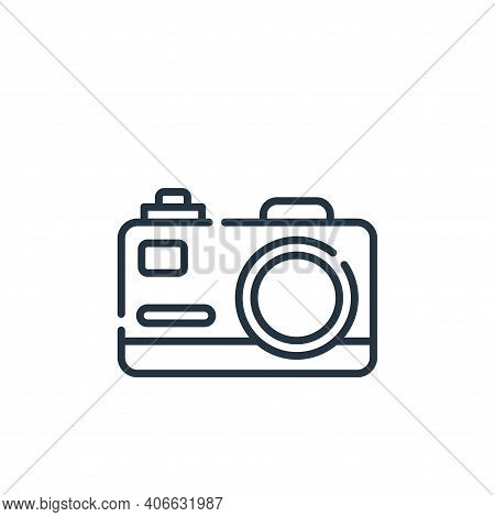 camera icon isolated on white background from hippies collection. camera icon thin line outline line