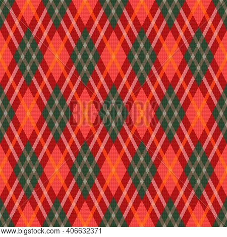 Rhombic Seamless Colorful In Green, Red And Orange Hues Illustration Pattern As A Tartan Plaid