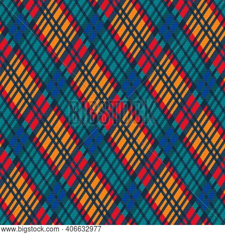 Detailed Rhomb Seamless Vector Pattern As A Tartan Plaid In Red, Orange, Blue And Turquoise Hues, Te