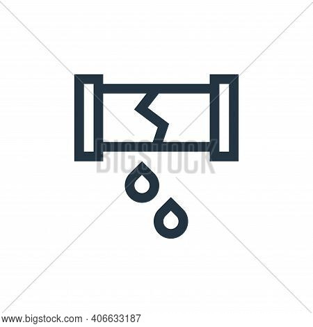 broken pipe icon isolated on white background from insurance collection. broken pipe icon thin line