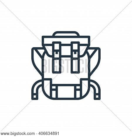 backpack icon isolated on white background from camping collection. backpack icon thin line outline