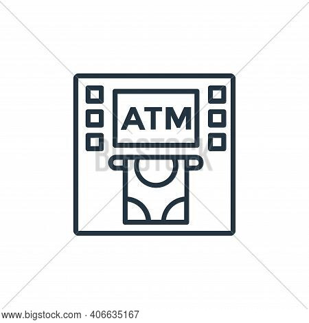 atm machine icon isolated on white background from shopping line icons collection. atm machine icon
