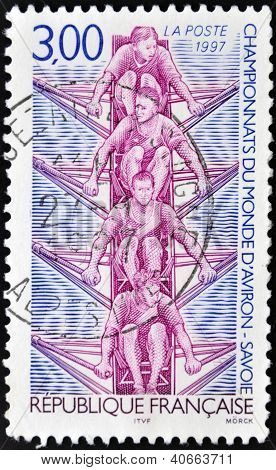 FRANCE - CIRCA 1997: A stamp printed in France dedicated to World Rowing Championship (Savoy)