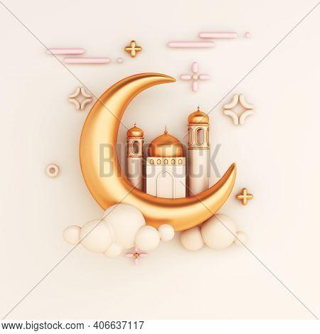 Islamic Decoration Background With Crescent Moon Mosque, Cartoon Style, Ramadan Kareem, Mawlid, Ifta
