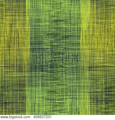 Seamless Pattern With Intersect Vertical And Horizontal Grunge Striped Elements In Green , Yellow Co