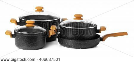 Black New Cookware Utensil Isolated On White Background