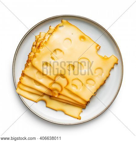 Sliced smoked hard cheese on plate isolated on white background.
