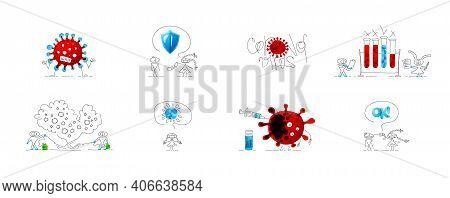 Collection Of Drawings About Coronavirus. Bundle Of Vector Cute Miniatures. Set Of Original Emojis.