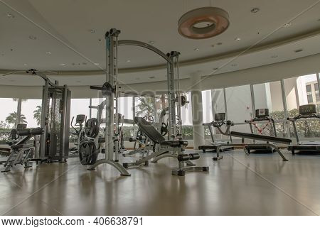 Bangkok, Thailand - Jan 28, 2021 : New Normal Concept And Physical Distancing Within Gym Or Fitness