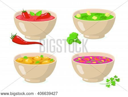 Bowls Of Soups Set. Tomato Gazpacho With Red Hot Pepper, Broccoli Green Puree, Curry With Mushrooms,