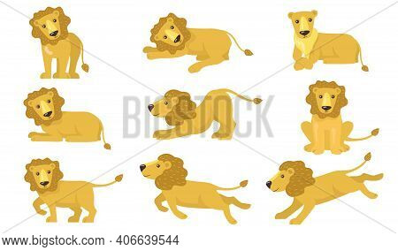Cartoon Lion Actions Set. Funny Yellow Animal With Tail Standing, Lying, Playing, Running, Hunting.