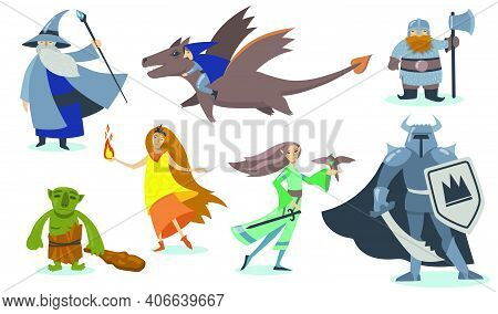 Computer Game Cartoon Characters Set. Giant, Viking Warrior With Shield, Orc, Magician, Elf, Gnome,