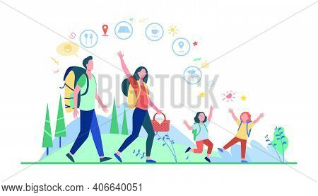 Family Hiking Or Location App Concept. Father, Mother And Children Walking Outdoors, Carrying Backpa