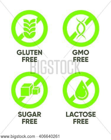 Gluten, Gmo, Sugar, Lactose Free Signs. Set Of Green Symbols With Text For Allergy, Healthy Food, Na
