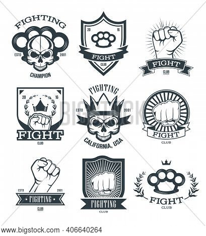 Gangsta Tattoo Flat Emblems Set. Street Gang Member And Gangster Patches With Skull, Gun, Fist Or Kn
