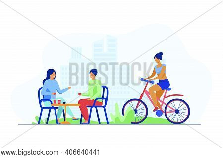 Happy Women Sitting In Street Cafe And Cyclist Riding Near Them. Coffee, Bicycle, Girl Flat Vector I