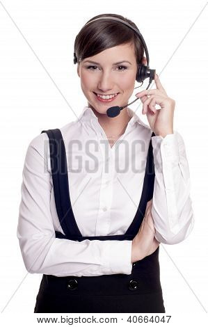 Smiling call center operator in headset isolated on white