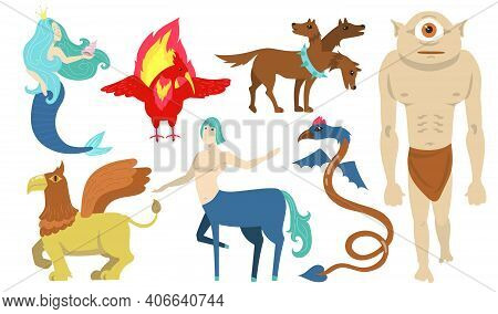 Mythical Creatures Characters Set. Flying Lion, Cyclops, Griffin, Centaur, Mermaid, Cerberus. For Gr