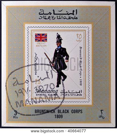 MANAMA - CIRCA 1970: A stamp printed in Manama shows Brunswick Black Corps 1809 circa 1970