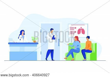 People Sitting In Hospital Corridor And Waiting For Doctor. Patient, Clinic, Visit Flat Vector Illus