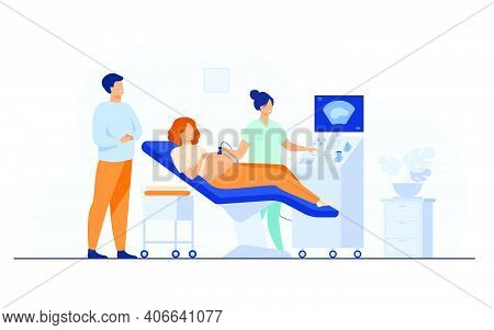 Prenatal Care Concept. Sonographer Scanning And Examining Pregnant Woman While Expecting Father Look