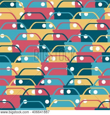 Seamless Background Or Pattern From Cars Of Different Colors. Traffic Jams. Traffic Jams. Automotive