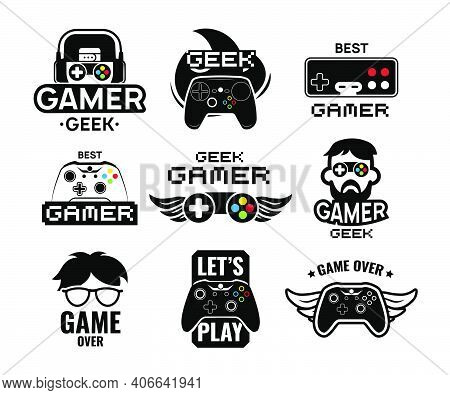 Video Game Logo Set. Emblems With Gamer, Vintage And Modern Joystick Console Controller, Headset. Is
