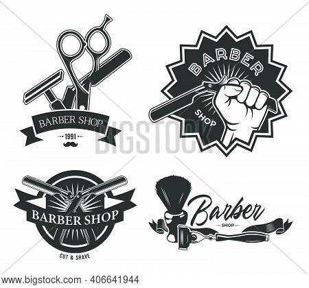 Vintage Barbershop Flat Labels Set. Monochrome Emblems With Barber Pole Scissors, Shaving Brush And